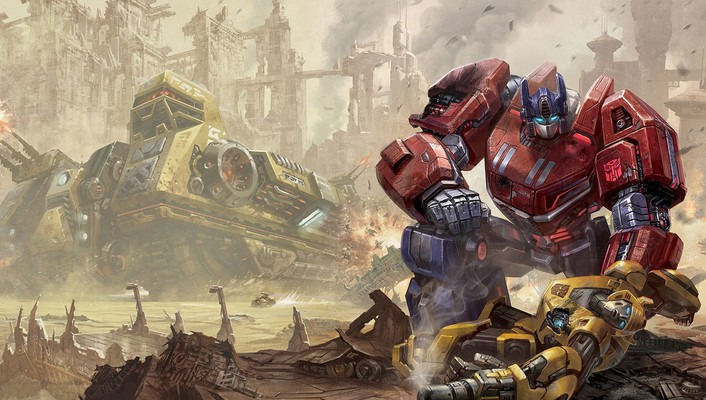 Optimus prime transformers bumblebee fall of cybertron wallpaper
