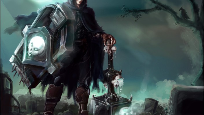Skulls halloween league of legends taric fan art wallpaper
