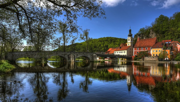 Gorgeous bridge in kallmyunts bavaria wallpaper