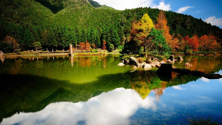 Landscapes nature forest lakes reflections wallpaper