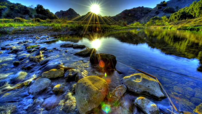 Lovely river cascading over stones hdr wallpaper