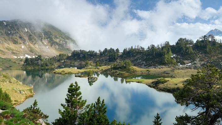 Clouds lakes mountains nature trees wallpaper