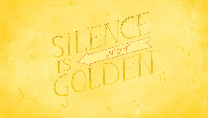 Text typography golden silence yellow background wallpaper