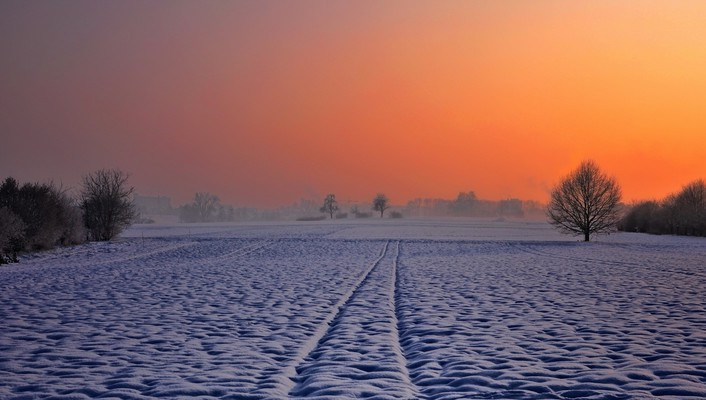 Meadow in winter at sunset wallpaper