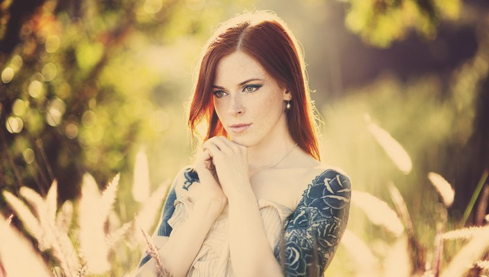Tattoos women redheads faces pale skin wallpaper