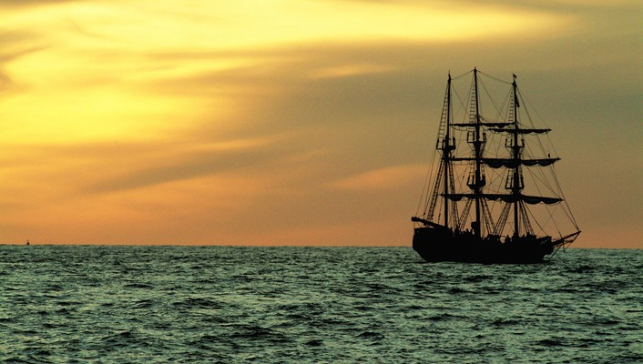 Nature sail ship wallpaper