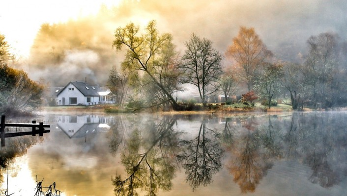 Country home house landscapes mountains wallpaper