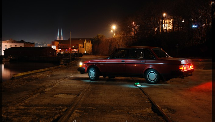 Cities trainway trails sea volvo240 swedish car wallpaper