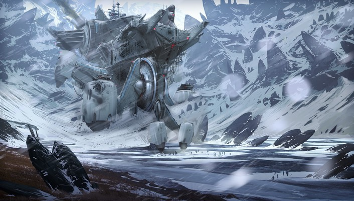 Mountains snow futuristic fantasy art artwork wallpaper