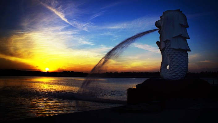 Incredible sunset over fountain wallpaper
