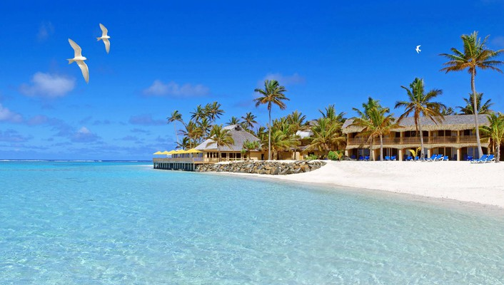Hotel in the cook islands polynesia wallpaper
