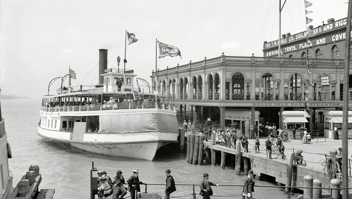 Crowd detroit monochrome historic ferry old photography wallpaper