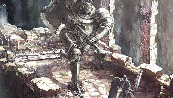 Weapons animation masks warriors helmets dark souls unrealistic wallpaper