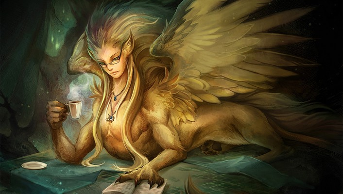 Wings fantasy art sphinx wallpaper