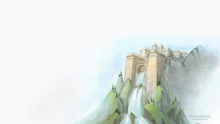 Mountains castles minimalistic cliffs drawings waterfalls wallpaper