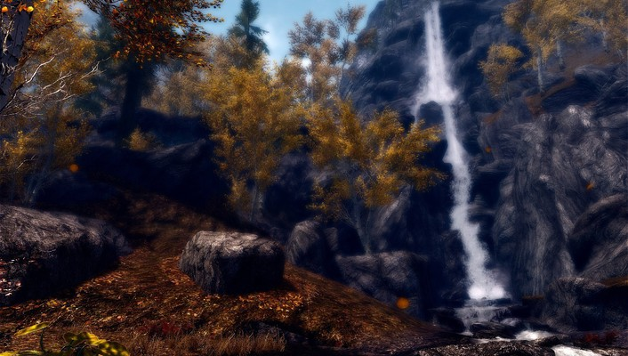 Leaves waterfalls the elder scrolls v: skyrim wallpaper