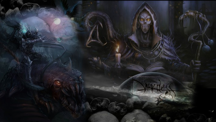 Dark darkness death digital art dragons wallpaper