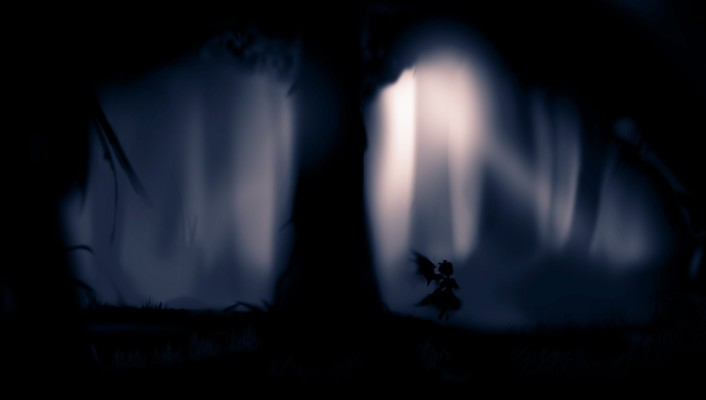 Black trees dark forest silhouette mystia lorelei wallpaper
