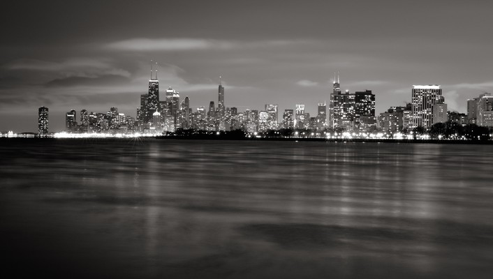 Chicago cityscapes grayscale skylines wallpaper
