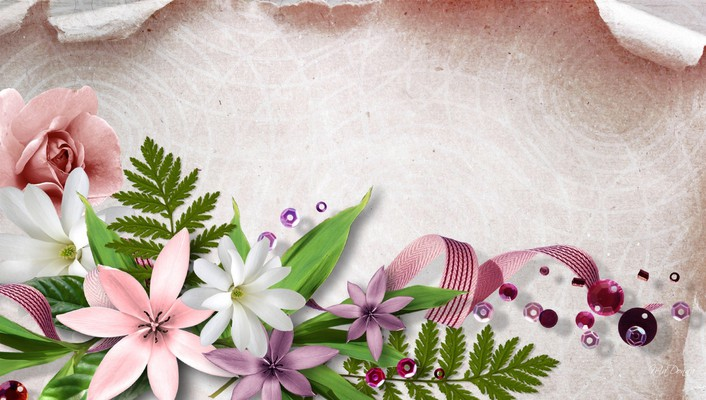Flowers beads and ribbon wallpaper