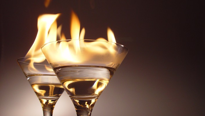 Flames fire glasses alcohol wine champagne wallpaper