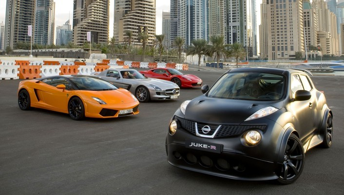 Tuned cities nissan juke-r lamborghini gallardo lp560-4 wallpaper