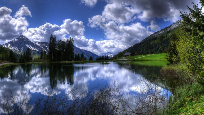Mountains clouds landscapes nature trees lakes skyscapes reflections wallpaper