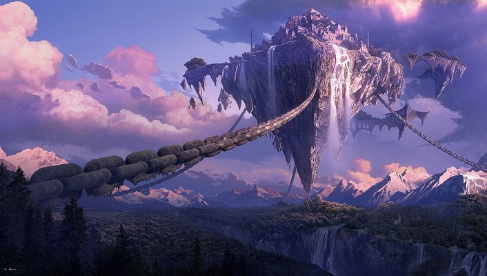 Lineage artwork canyon chains forests wallpaper