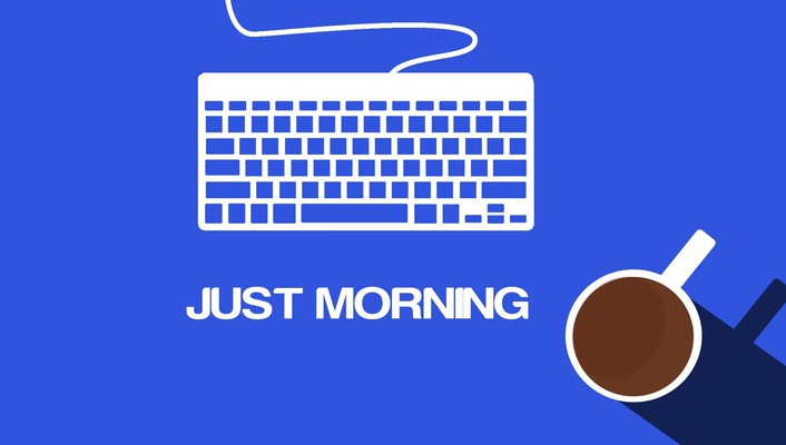 Minimalistic coffee keyboards morning blue background wallpaper