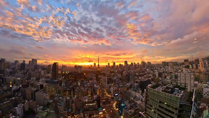 Sunset japan clouds landscapes tokyo cityscapes golden wallpaper