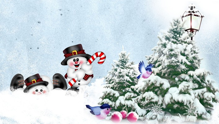 Snowman playing wallpaper