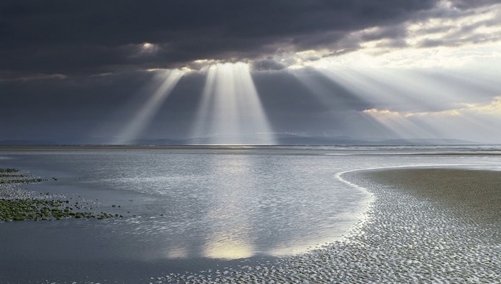 Water clouds landscapes sun rays beach wallpaper