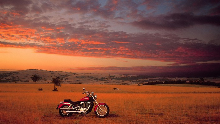 Honda motorbikes shadows sunset wallpaper