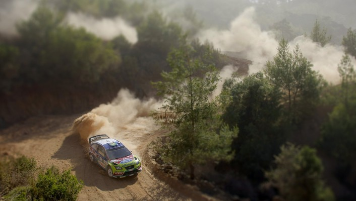 Rally racing ford focus wrc aerial view wallpaper