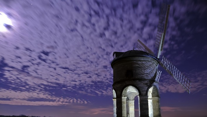 Clouds windmills night sky wallpaper