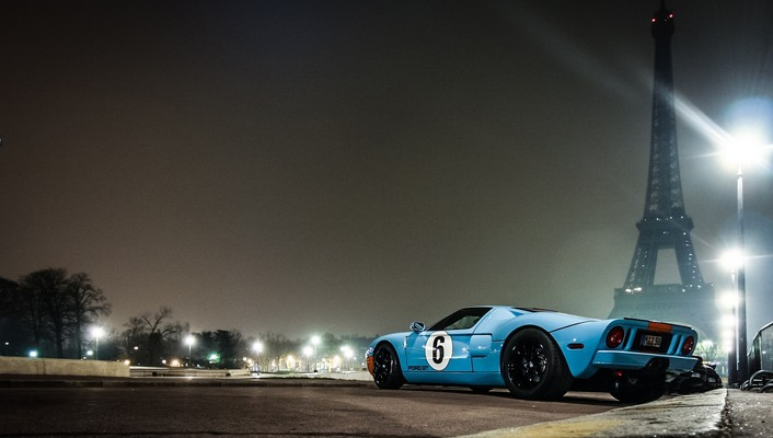 Eiffel tower paris ford gt gt40 low-angle shot wallpaper