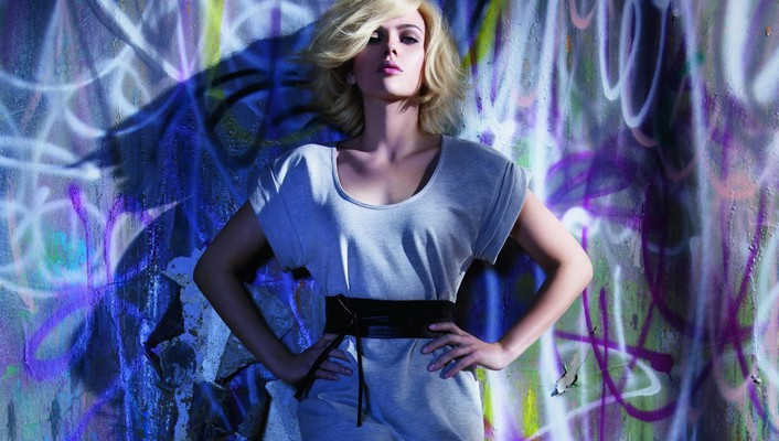 Blondes women scarlett johansson actress graffiti wallpaper