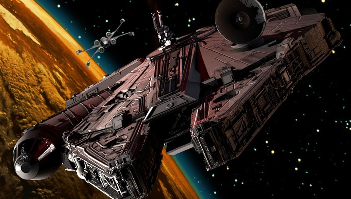 Spaceships millennium falcon x-wing science fiction artwork wallpaper