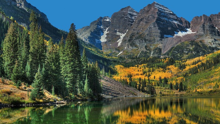 Colorado maroon bells autumn forests go wallpaper