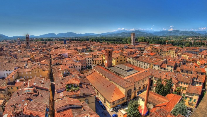 Superb roofs in an italian city wallpaper