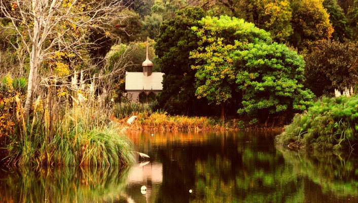 Water nature autumn calm church park wallpaper