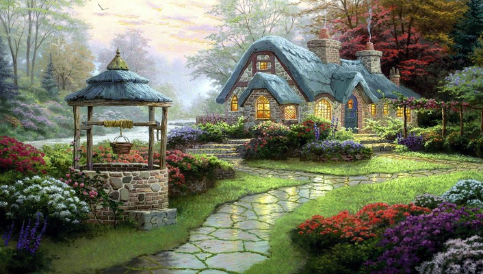 Cottage oil painting wallpaper