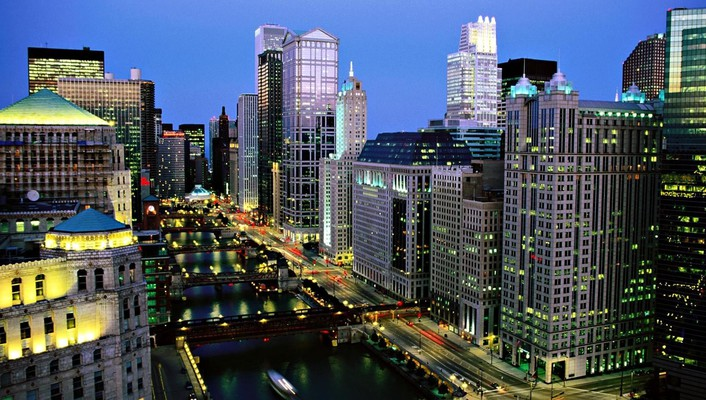 The chicago river at night wallpaper