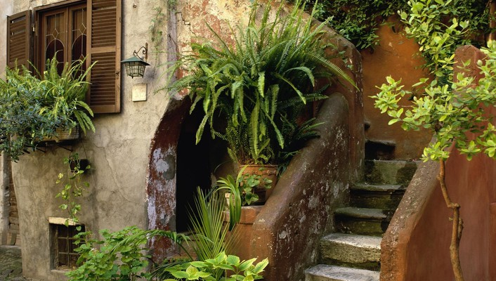 Architecture garden houses stairways plants window panes wallpaper