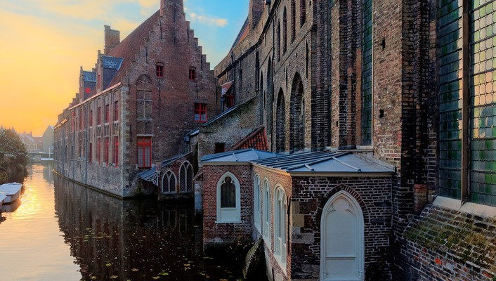 Clouds houses europe belgium rivers cities bruges wallpaper