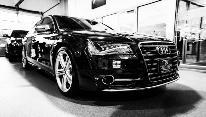 Black and white cars audi a6 wallpaper