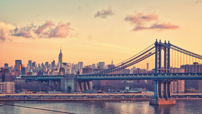 New york city bridges buildings cityscapes clouds wallpaper