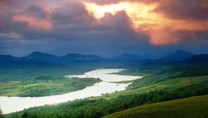 Mountains clouds landscapes nature rivers wallpaper