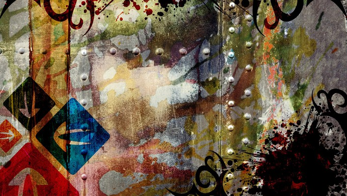 Abstract multicolor grunge digital art wallpaper