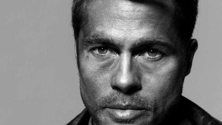 Black and white men brad pitt actors faces wallpaper